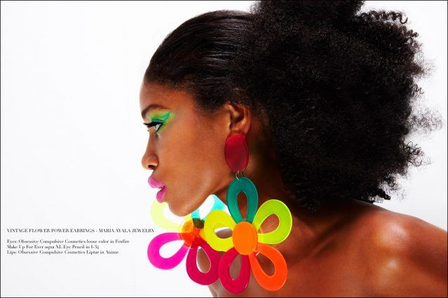 Vintage flower power jewelry by Maria Ayala, photographed on model Christina Anderson-McDonald. Photographed by Alexander Thompson for Ponyboy magazine.