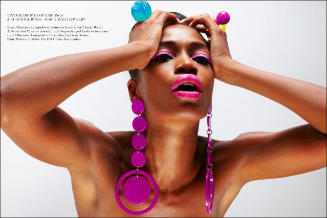 Dramatic purple hoops and oversized plastic rings modeled by Christina Anderson-McDonald, designed by Maria Ayala. Photography by Alexander Thompson for Ponyboy magazine.