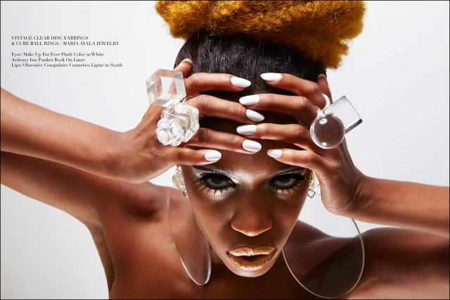 Oversized vintage lucite jewelry designed by Maria Ayala, featured on model Christina Anderson-McDonald, with photography by Alexander Thompson for Ponyboy magazine.