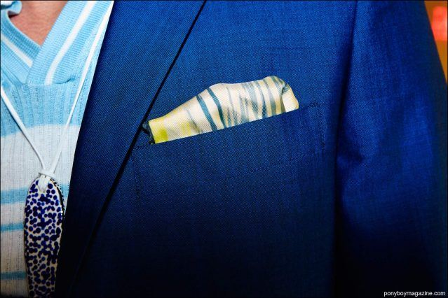 A detail shot of a pocket square, photographed backstage at David Hart S/S17 menswear show by Alexander Thompson for Ponyboy magazine.