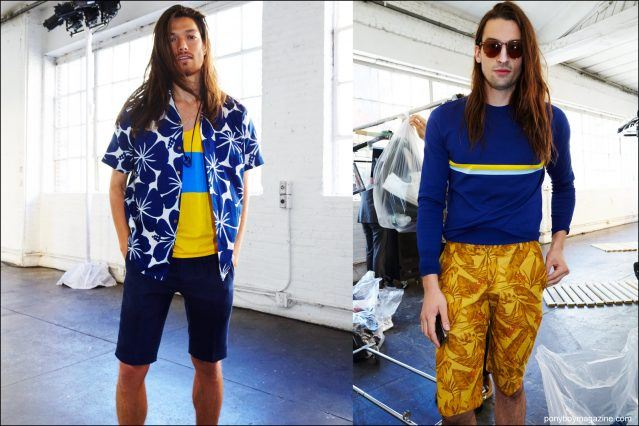 Long-haired male models photographed backstage at David Hart Spring/Summer 2017 collection by Alexander Thompson for Ponyboy magazine.