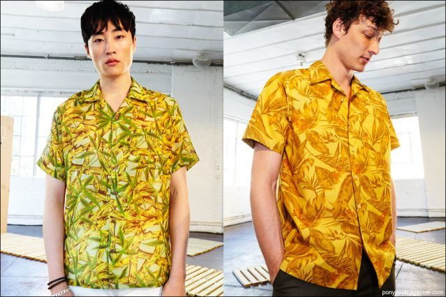 Colorful Hawaiian shirts photographed on male models, backstage at David Hart S/S17 menswear show by Alexander Thompson for Ponyboy magazine.