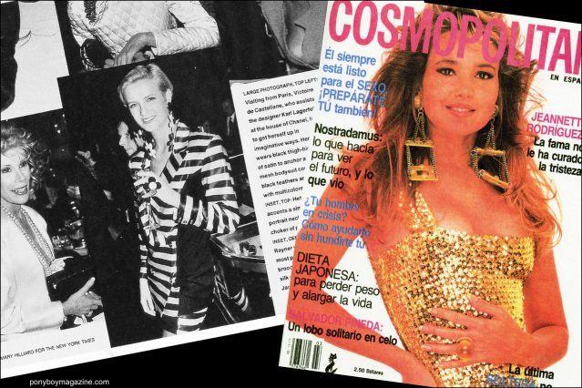 Tearsheet of Cosmopolitan cover with model wearing Maria Ayala jewelry. Ponyboy magazine.