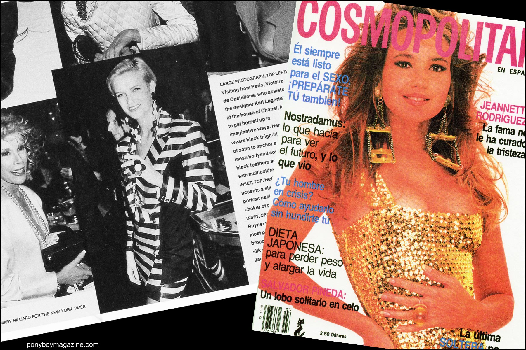 Tearsheet of Cosmopolitan cover with model wearing Maria Ayala jewelry. Ponyboy magazine NY.