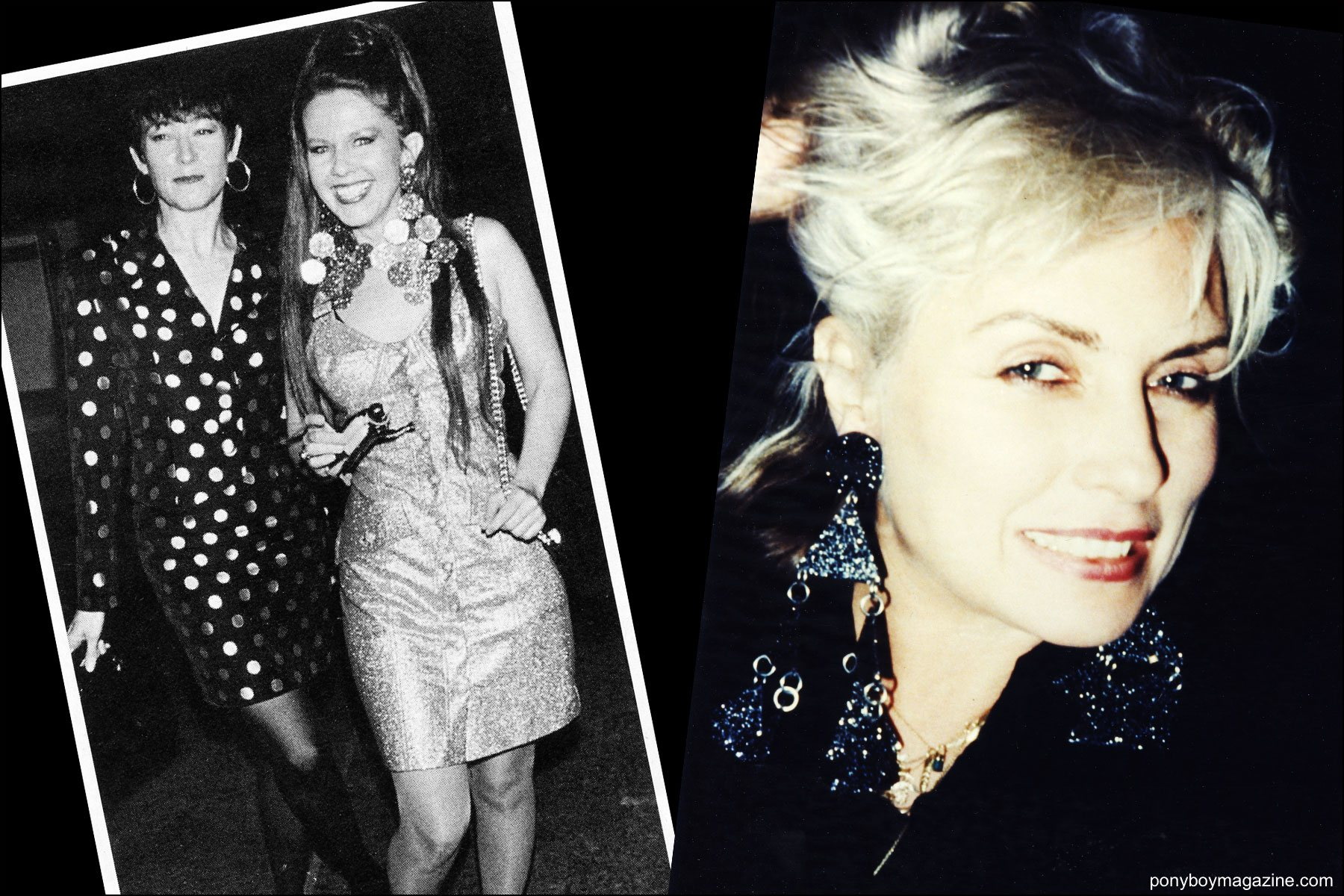 Photos of Kate Pierson from the B-52's and Debbie Harry from Blondie in Maria Ayala earrings. Ponyboy magazine NY.
