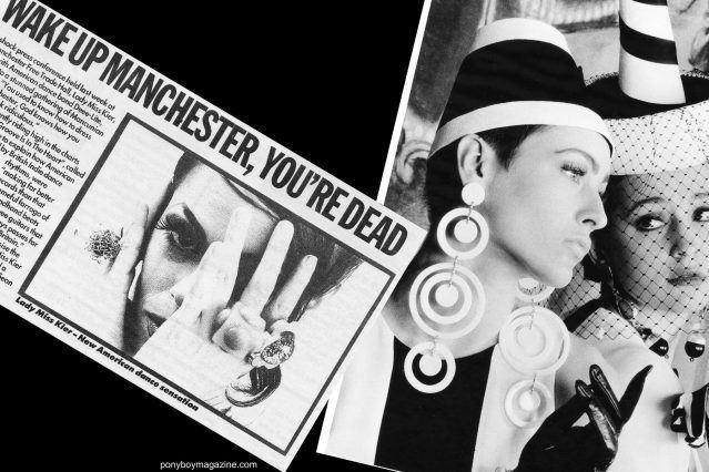 Tearsheet of Lady Miss Kier in Melody Maker wearing Maria Ayala jewelry. Ponyboy magazine.