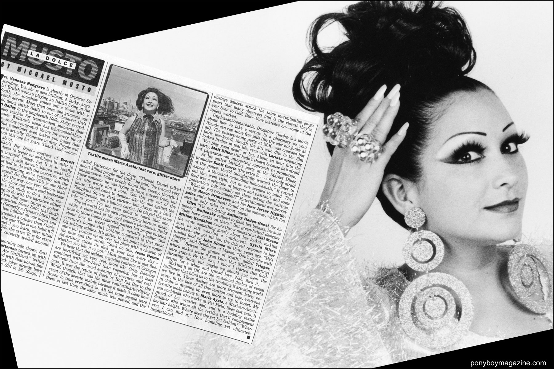 Tearsheet of Maria Ayala photographed for the Michael Musto's Village Voice column. Ponyboy magazine NY.