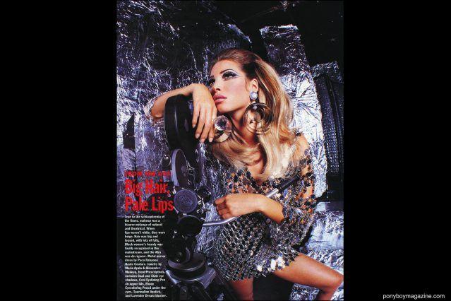 Tearsheet of Maria Ayala earrings on model Christy Turlington in Allure magazine, photographed by Steven Meisel. Ponyboy magazine.