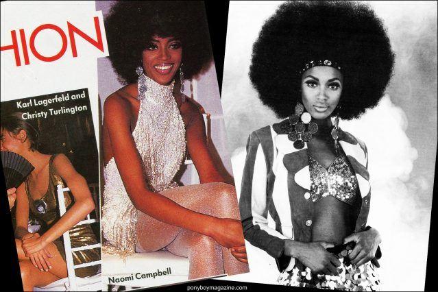 Supermodel Naomi Campbell photographed in Maria Ayala plastic jewelry. Ponyboy magazine.