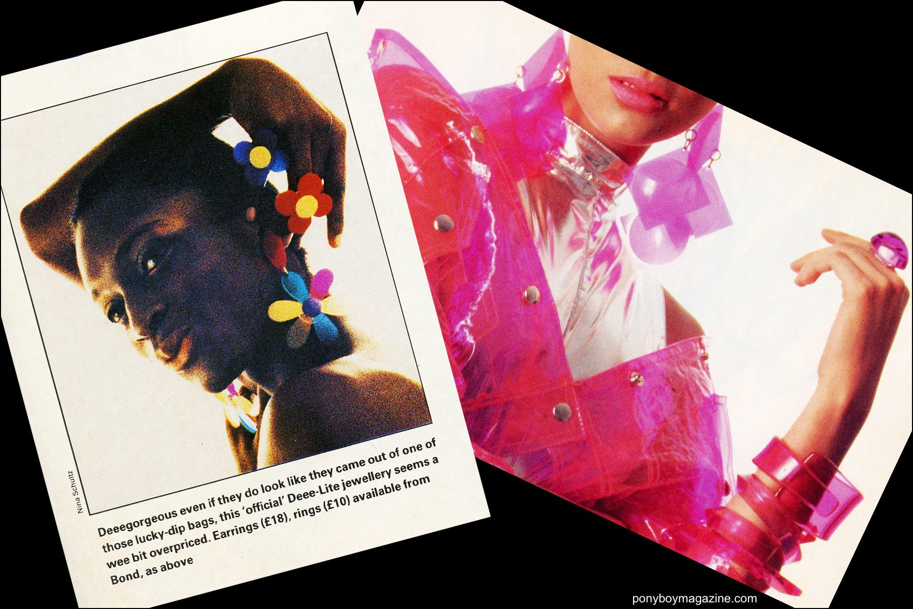 Tearsheets from The Face and Interview magazine of Maria Ayala jewelry. Ponyboy magazine NY.