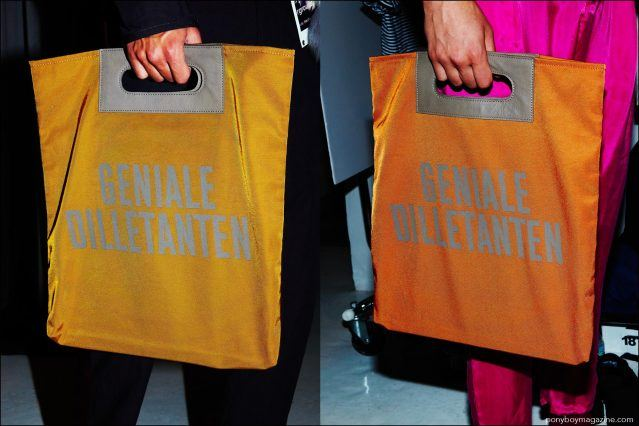Close-up shot of record style bags, photographed backstage at Robert Geller S/S17 menswear show. Photography by Alexander Thompson for Ponyboy magazine.
