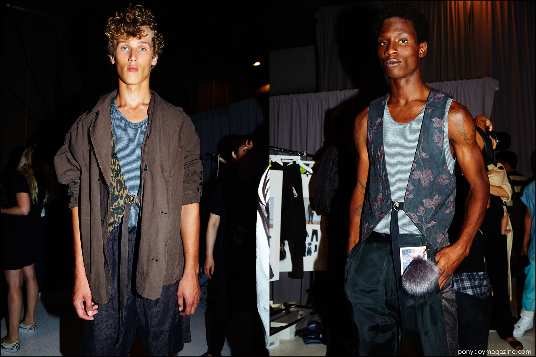 Models Bram Valbracht and Adonis Bosso photographed backstage at Robert Geller Spring/Summer 2017 menswear show. Photography by Alexander Thompson for Ponyboy magazine NY.