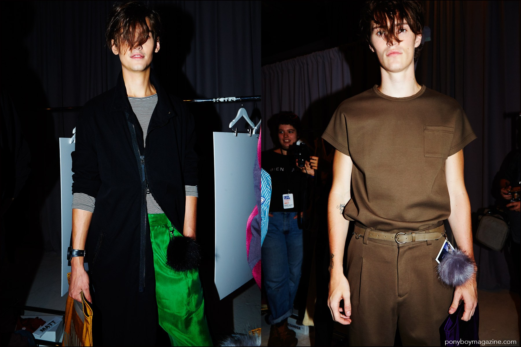 Models with long bangs, photographed backstage at Robert Geller Spring/Summer 2017 menswear show. Photography by Alexander Thompson for Ponyboy magazine NY.