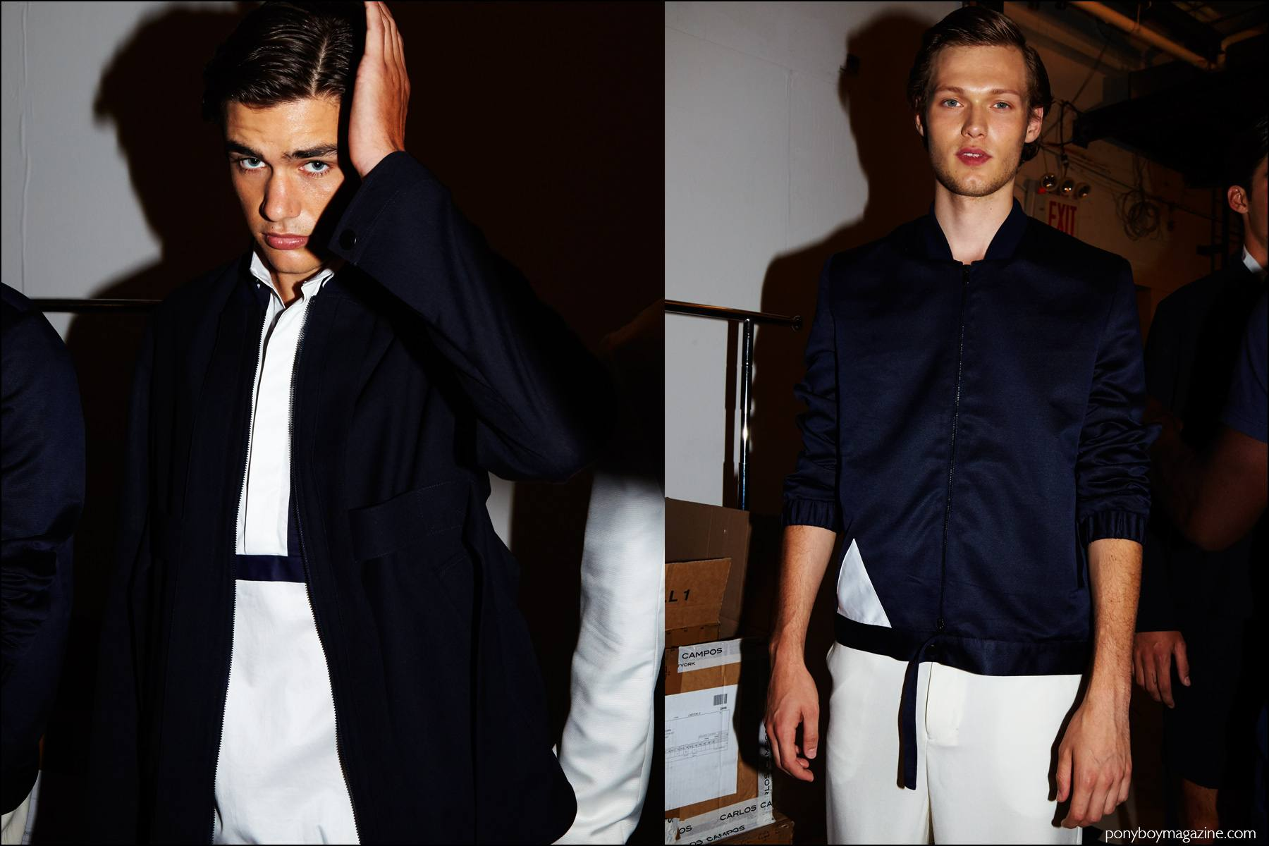Models in Navy and white clothing, photographed backstage at Carlos Campos Spring/Summer 2017 menswear show. Photography by Alexander Thompson for Ponyboy magazine NY.