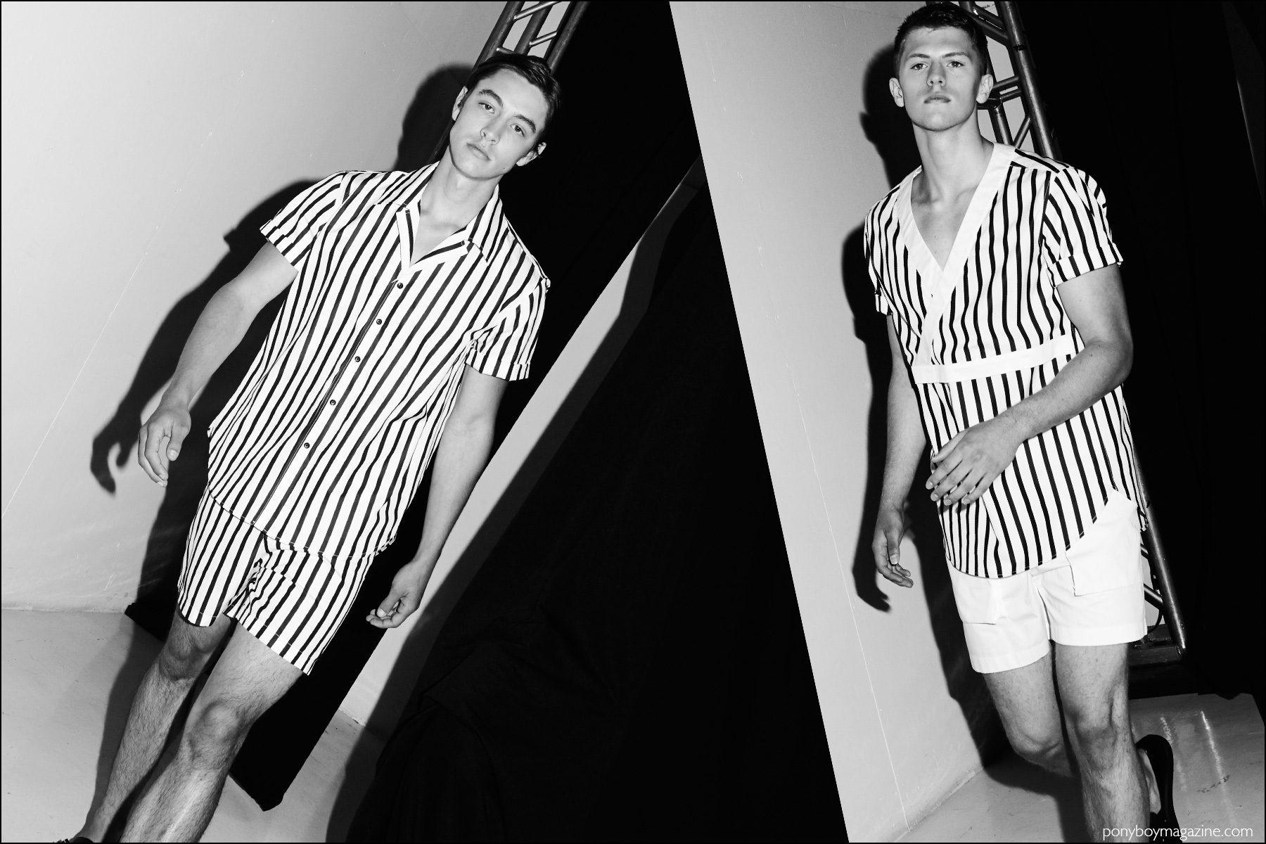 Models wear black & white stripe menswear at Carlos Campos Spring/Summer 2017 menswear show. Photography by Alexander Thompson for Ponyboy magazine NY.