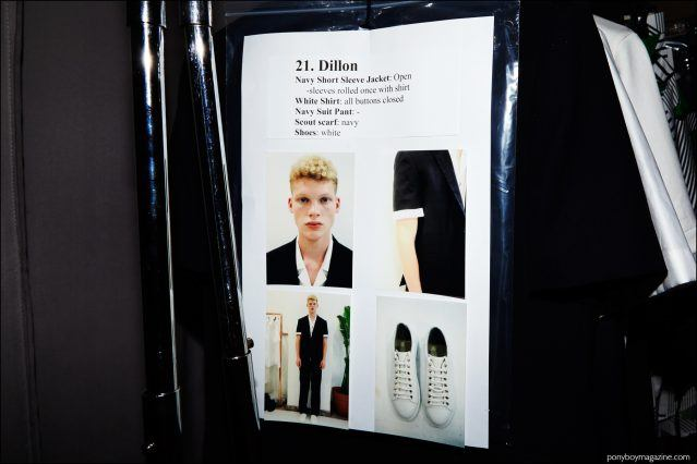 Model's dressing card for Dillon Westbrock. Photographed backstage at Carlos Campos Spring/Summer 2017 menswear show by Alexander Thompson for Ponyboy magazine.