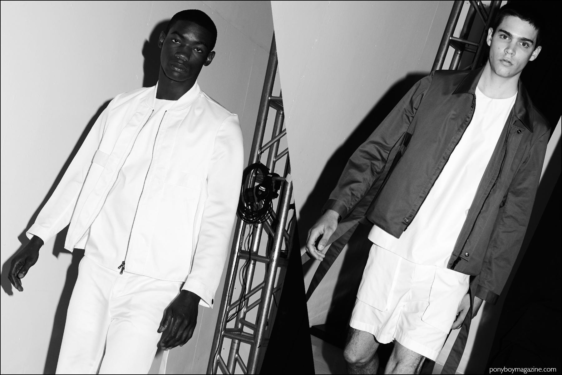 Models Valentine Rontez and Federico Spinas photographed exciting the runway at Carlos Campos Spring/Summer 2017 menswear show. Photography by Alexander Thompson for Ponyboy magazine NY.