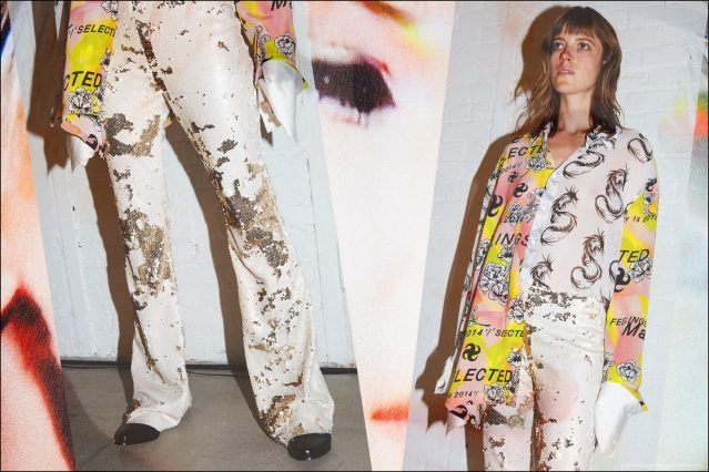 A female model in sequin boot-cut pants and silk printed top, backstage at the Devon Halfnight Leflufy S/S17 collection. Photography by Alexander Thompson for Ponyboy magazine in New York.