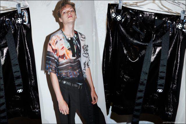Male model Turner Barbur photographed backstage at the Devon Halfnight Leflufy Spring/Summer 2017 menswear presentation during New York Fashion Week Men. Photography by Alexander Thompson for Ponyboy magazine New York.