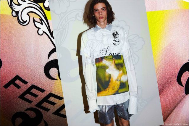 Male model Erin Mommsen photographed backstage at the Devon Halfnight Leflufy Spring/Summer 2017 collection in New York City. Photography by Alexander Thompson for Ponyboy Magazine NY.