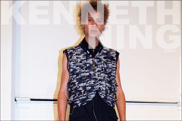 Model Lye-Amone Cassac photographed backstage at Kenneth Ning Spring/Summer 2017 menswear show. Photography by Alexander Thompson for Ponyboy magazine.