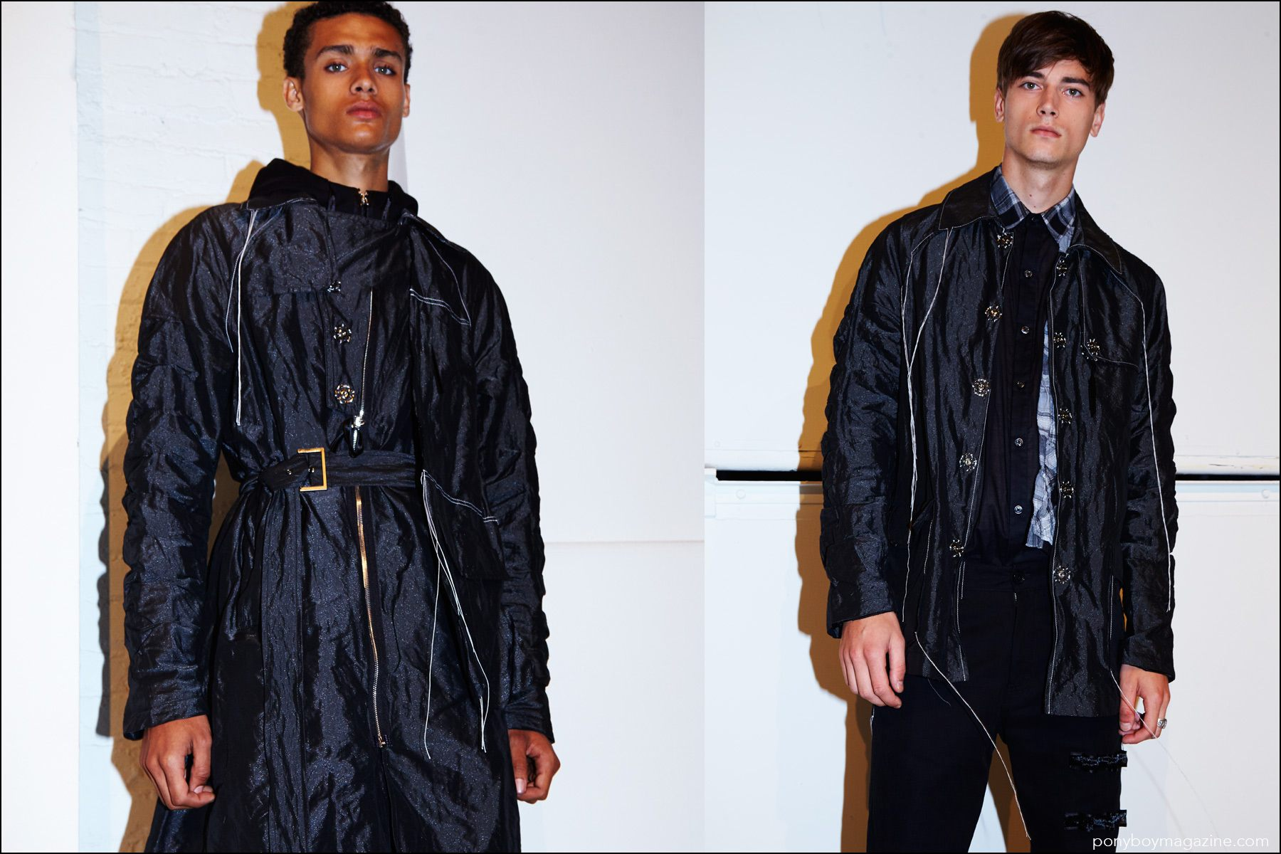 Male models wearing the latest backstage at Kenneth Ning Spring/Summer 2017 menswear show. Photography by Alexander Thompson for Ponyboy magazine NY.