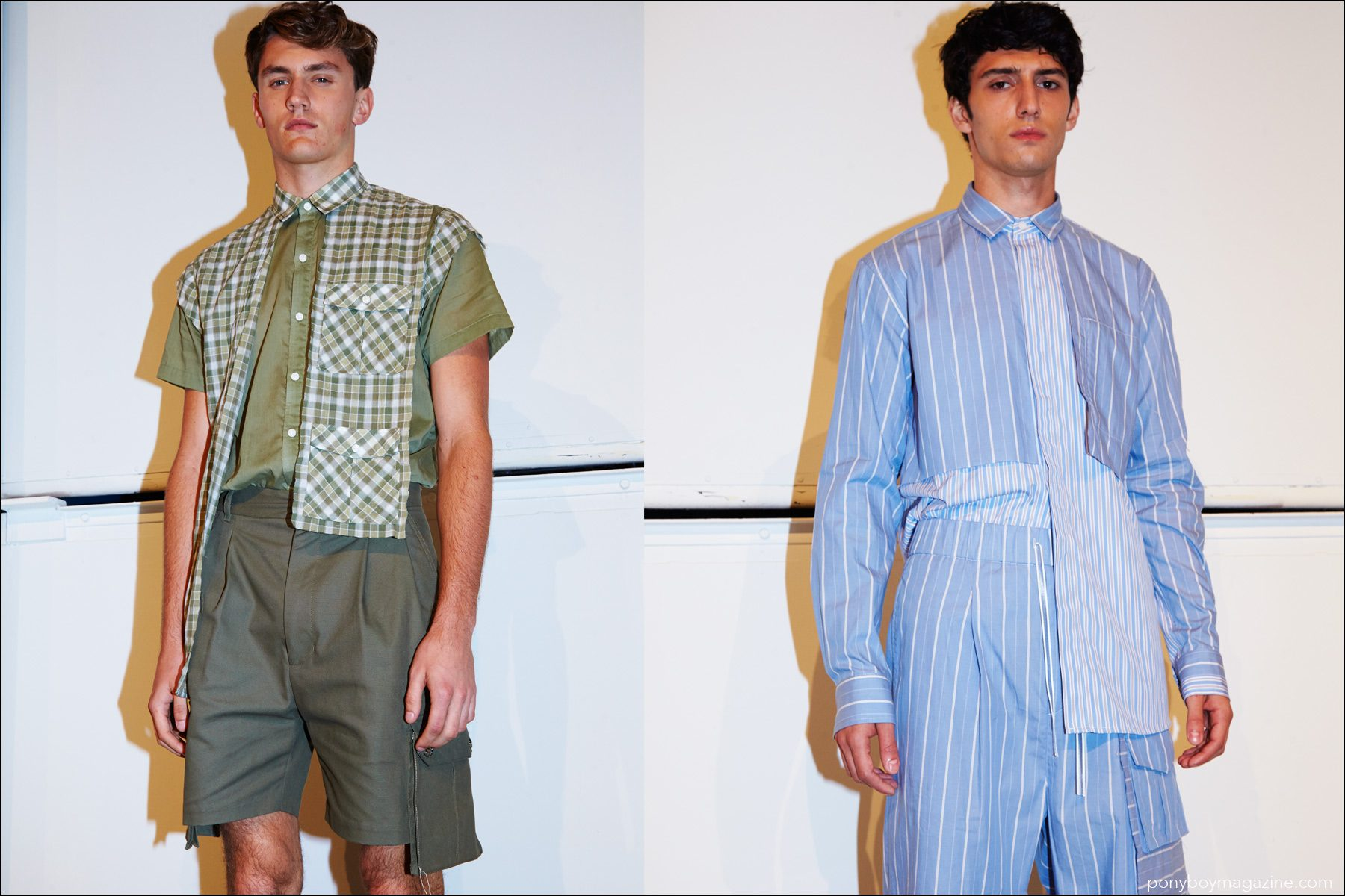 Asymmetrical shirts photographed on models backstage at Kenneth Ning Spring/Summer 2017 menswear shot. Photography by Alexander Thompson for Ponyboy magazine NY.