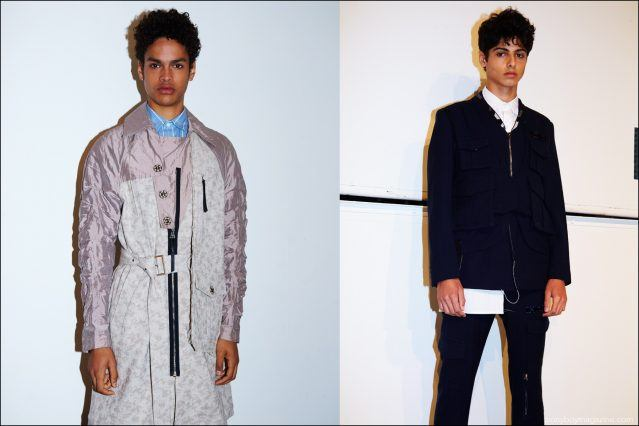 Model Noa Thomas snapped backstage in Kenneth Ning S/S17 menswear. Photographed by Alexander Thompson for Ponyboy magazine.
