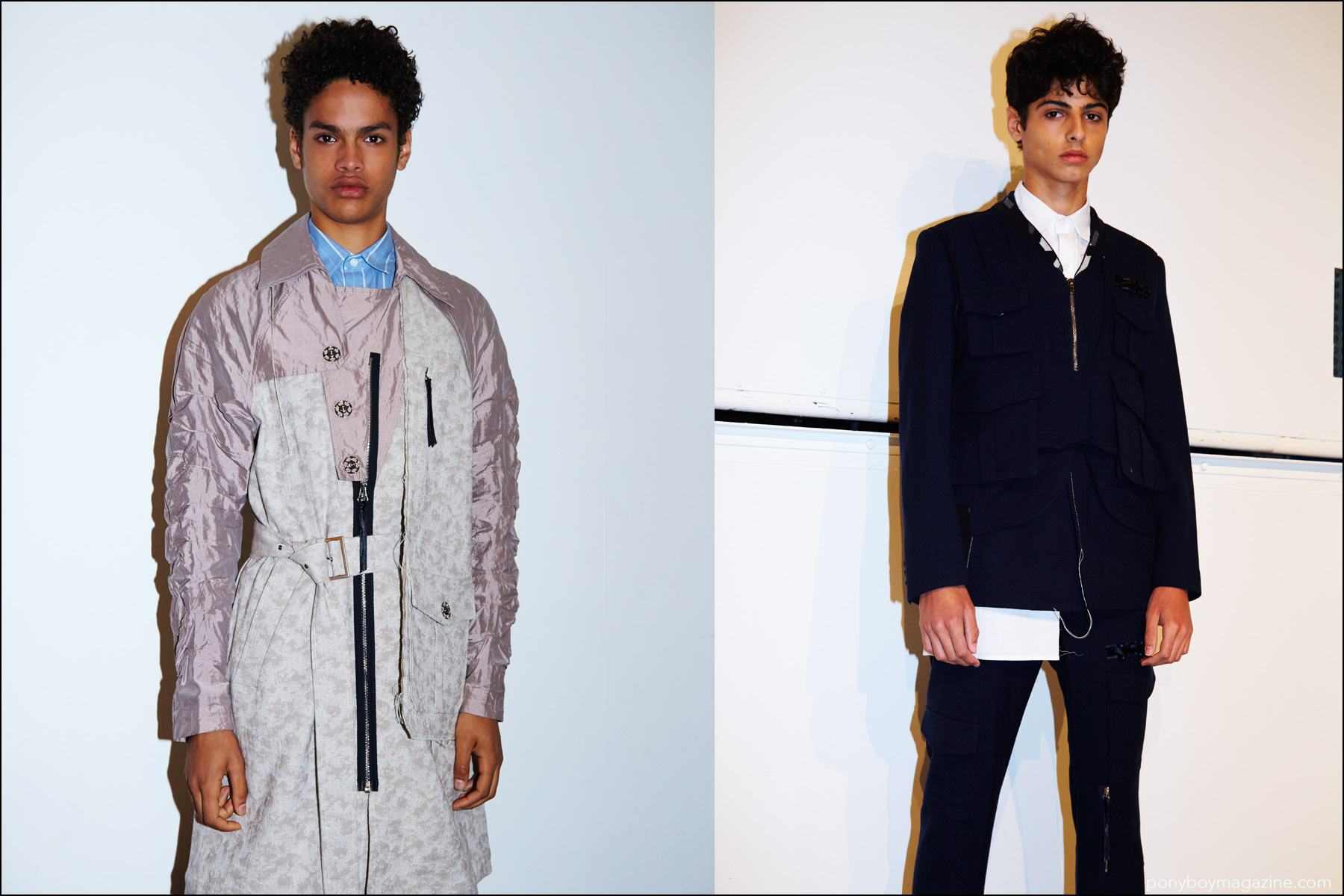 Model Noa Thomas snapped backstage in Kenneth Ning S/S17 menswear. Photographed by Alexander Thompson for Ponyboy magazine New York.
