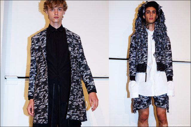 Models wear camouflage jacquard clothing backstage at Kenneth Ning S/S17. Photography by Alexander Thompson for Ponyboy magazine.