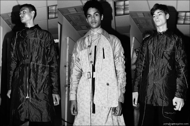 Male models, including Noa Thomas, photographed before walking at the Kenneth Ning Spring/Summer 2017 menswear show. Photography by Alexander Thompson for Ponyboy magazine.