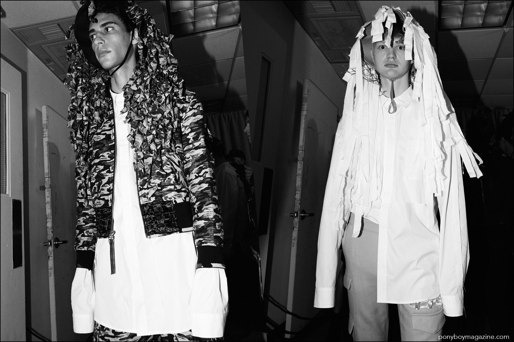 Models snapped backstage before walking at the Kenneth Ning Spring/Summer 2017 menswear presentation. Photographed by Alexander Thompson for Ponyboy magazine NY.