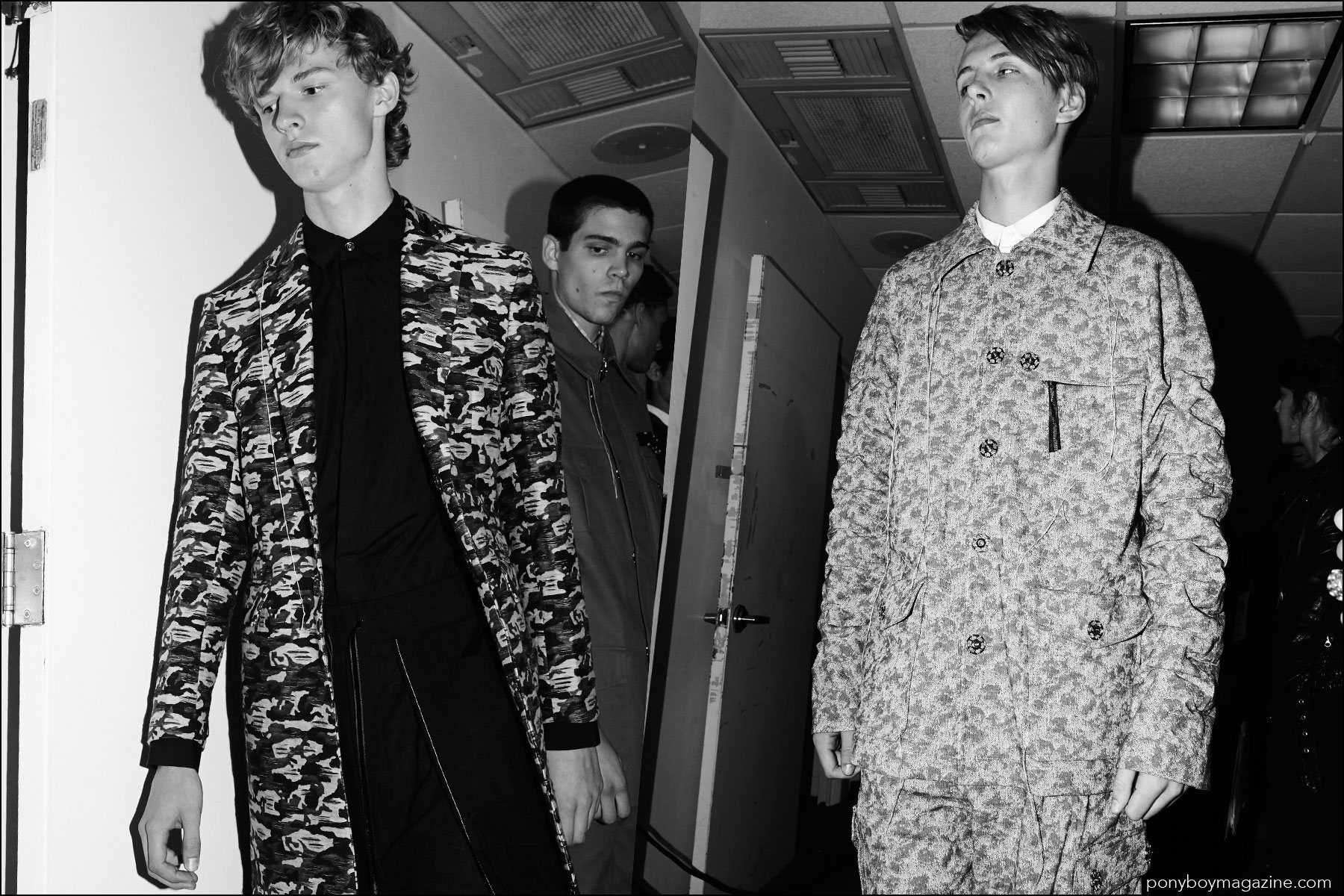 Military inspired jackets photographed backstage before models walk for Kenneth Ning Spring/Summer 2017 menswear show. Photography by Alexander Thompson for Ponyboy magazine New York.
