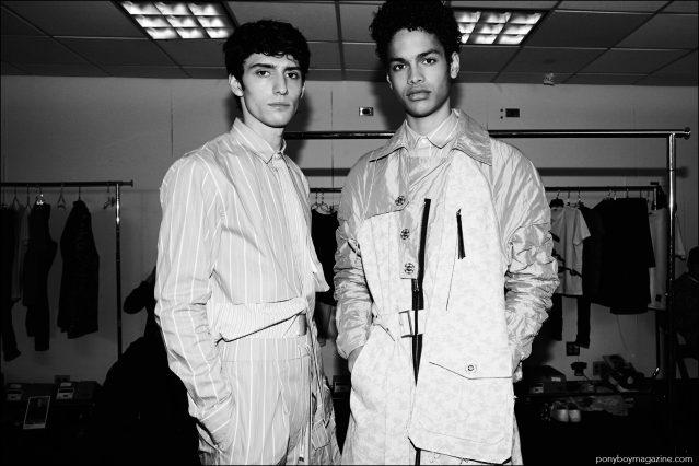 Male model Noa Thomas photographed backstage at Kenneth Ning S/S17 menswear show. Photography by Alexander Thompson for Ponyboy magazine.