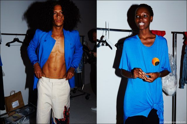 Models wearing vibrant blue clothing, photographed backstage at Rochambeau Spring/Summer 2017 show. Photography by Alexander Thompson for Ponyboy magazine.