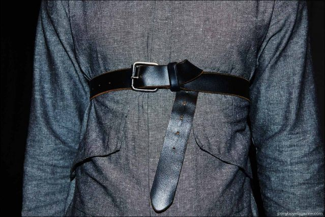 Detail shot of a men's shirt and belt, photographed backstage at Rochambeau Spring/Summer 2017 menswear show. Photography by Alexander Thompson for Ponyboy magazine.