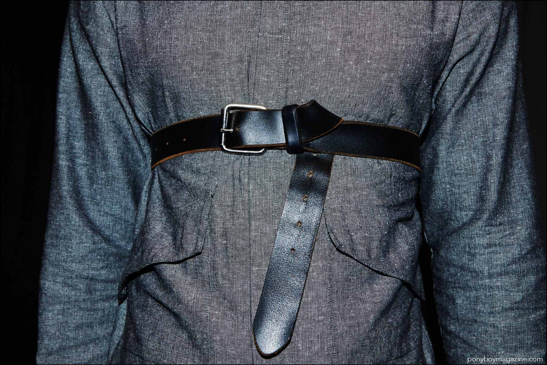 Detail shot of a men's shirt and belt, photographed backstage at Rochambeau Spring/Summer 2017 menswear show. Photography by Alexander Thompson for Ponyboy magazine NY.