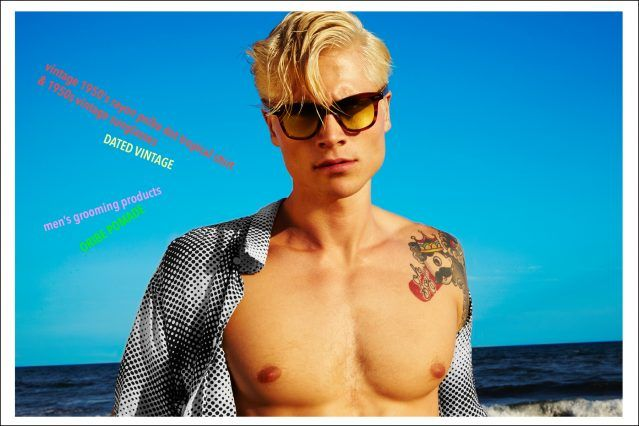 Male model Jake Filling featured in a Ponyboy magazine vintage Hawaiian shirt editorial. Photography by Alexander Thompson, photographed in the Rockaways, Queens New York.
