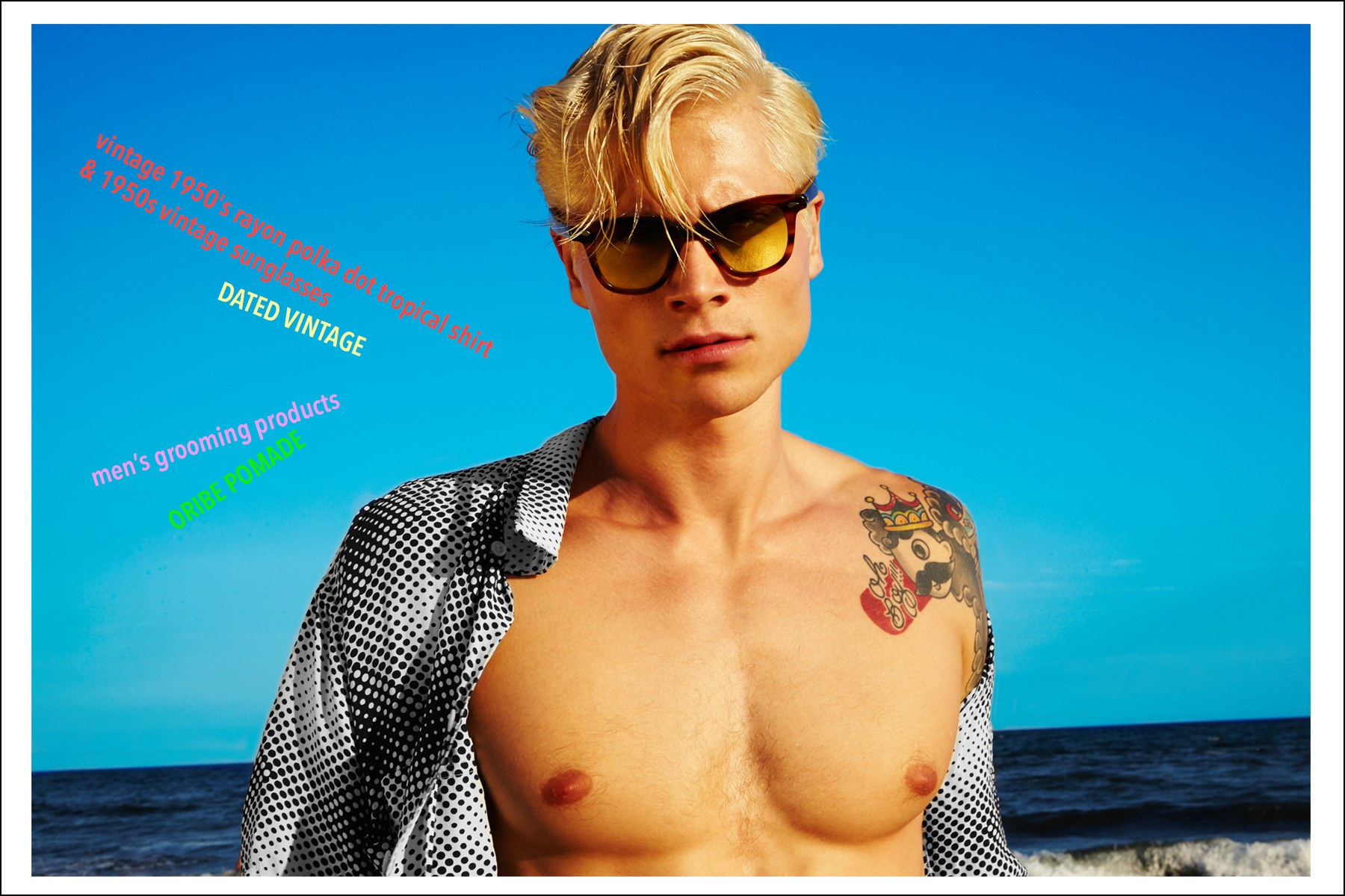 Male model Jake Filling featured in a Ponyboy magazine vintage Hawaiian shirt editorial. Photography by Alexander Thompson, photographed in the Rockaways, Queens.