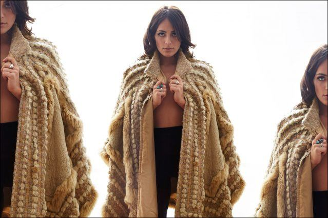 New York City musician Breanna Barbara photographed in a vintage fur cape by Alexander Thompson for Ponyboy magazine.