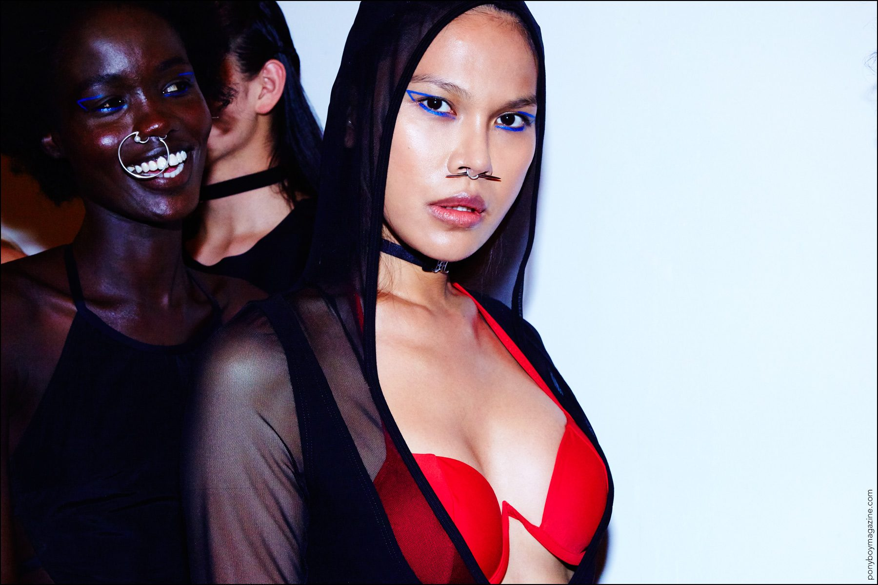 Models snapped backstage before walking for Chromat S/S17. Photographed for Ponyboy magazine NYby Alexander Thompson.