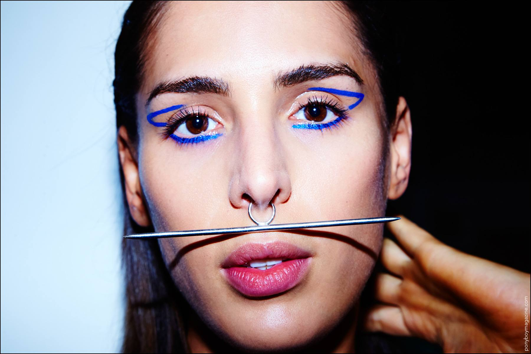 Model Carmen Carrera snapped backstage at the Chromat Spring/Summer 2017 womenswear show. Photography by Alexander Thompson for Ponyboy magazine NY.