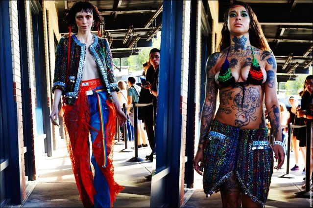 Eclectic creations at Gypsy Sport Spring/Summer 2017 sidewalk runway show from New York Fashion Week. Photographed by Alexander Thompson for Ponyboy magazine.