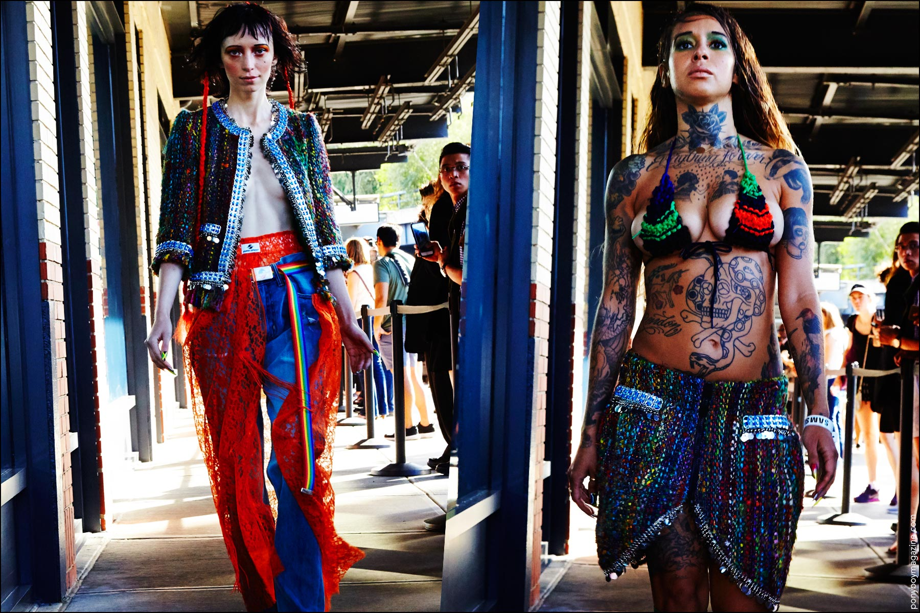 Eclectic creations at the Gypsy Sport S/S 2017 sidewalk runway show from New York Fashion Week. Photographed by Alexander Thompson for Ponyboy magazine.