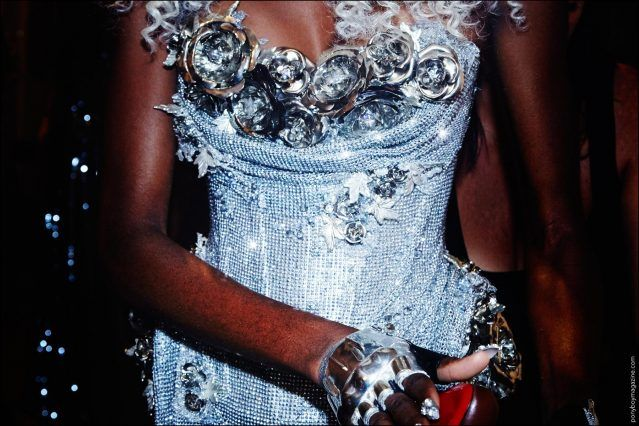 Detail shot of a model in a corset at the Blonds Spring/Summer 2017 show at Milk Studios in New York City. Photography by Alexander Thompson for Ponyboy magazine.
