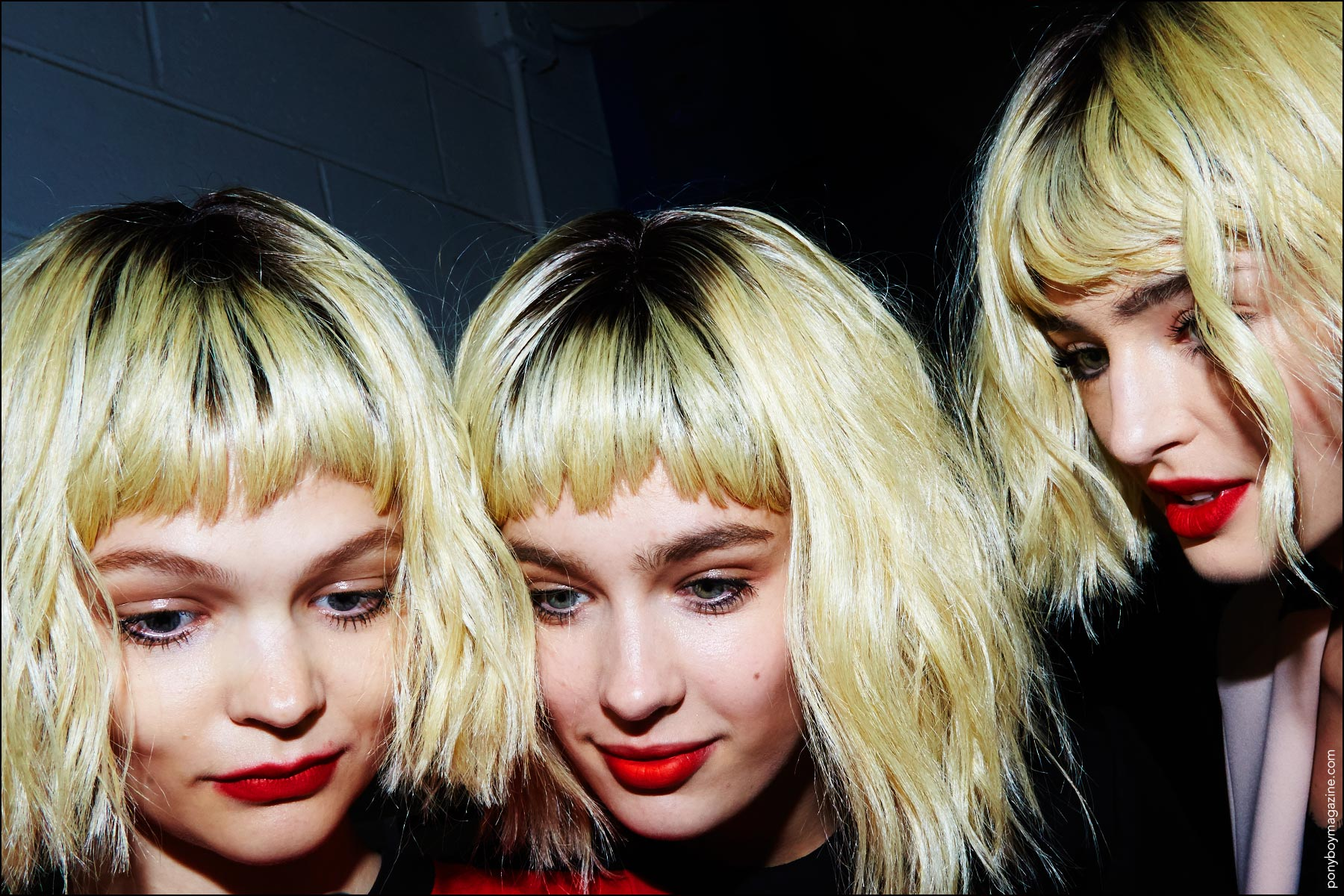 Models backtage in blond bob wigs. Photographed at Georgine Spring/Summer 2017 show by Alexander Thompson for Ponyboy magazine New York.