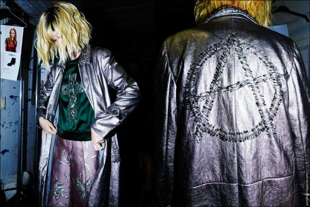 Model Luisa Bianchin photographed in a silver metallic anarchy leather jacket, backstage at the Georgine Spring/Summer 2017 show. Photography by Alexander Thompson for Ponyboy magazine.