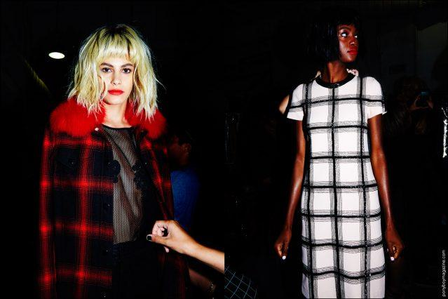 Models wear plaid creations, photographed backstage at the Georgine Spring/Summer 2017 during New York Fashion Week. Photography by Alexander Thompson for Ponyboy magazine.