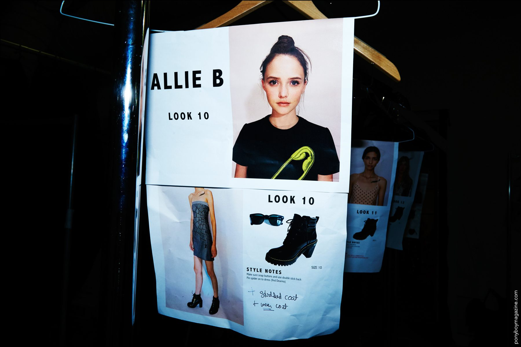 Allie Barrett's model dressing card photographed backstage at the Georgine Spring/Summer 2017 show. Photography by Alexander Thompson for Ponyboy magazine in New York.
