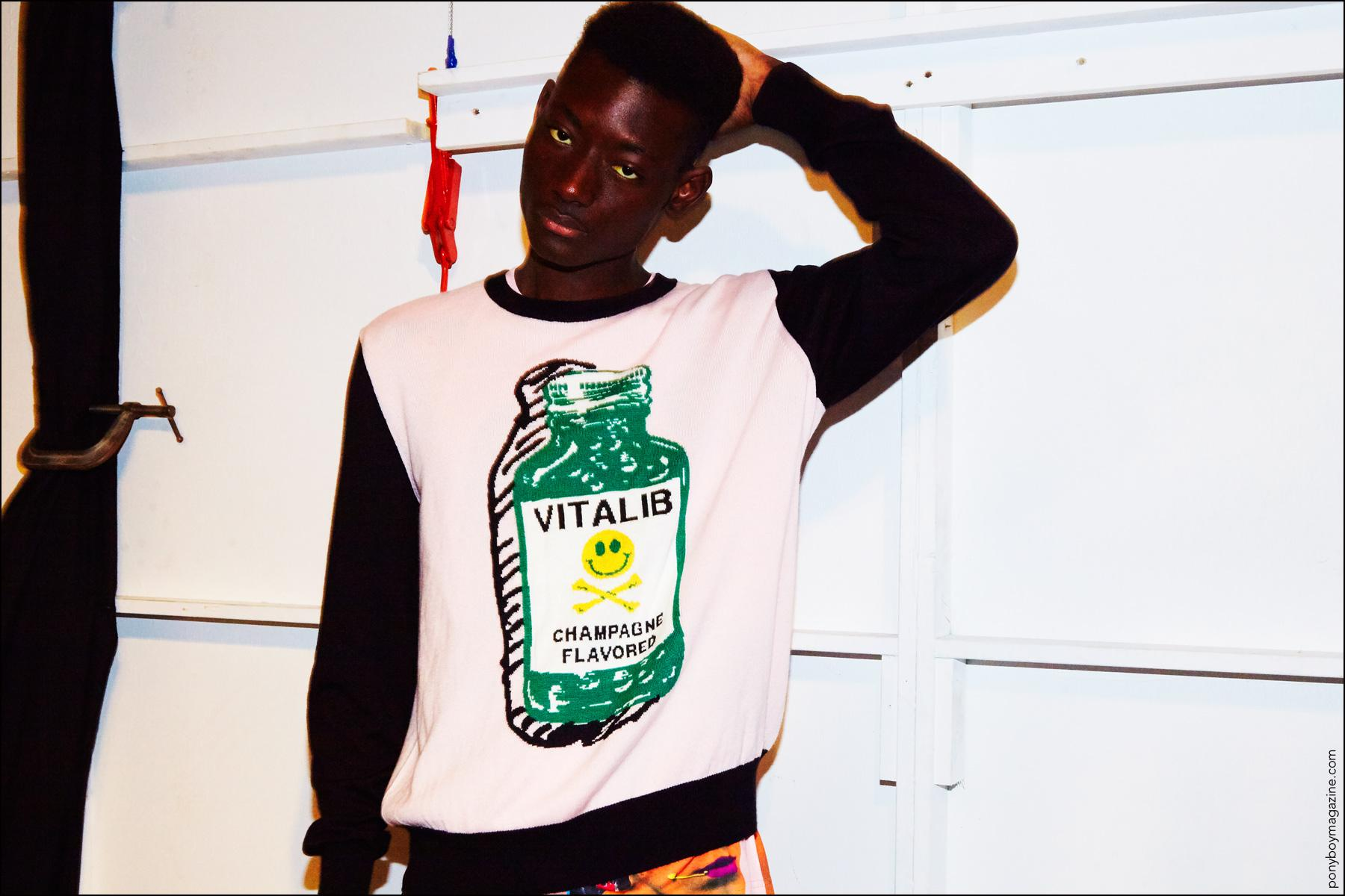 Model Youssouf Bamba snapped backstage at Libertine Spring/Summer 2017 collection. Photography by Alexander Thompson for Ponyboy magazine in New York City.